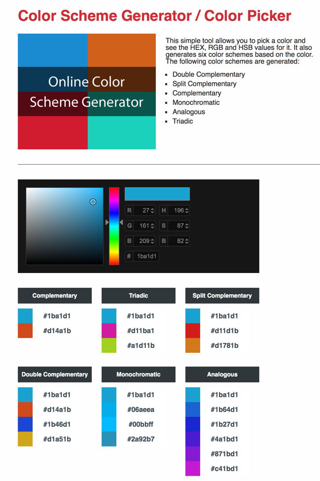Web Tool: Color Scheme Generator / Color Picker – Media for the Mind